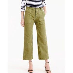 J. Crew Wide Leg Green Linen Cropped Pants